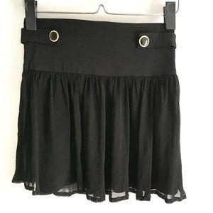 Black Mini Flowy Skirt